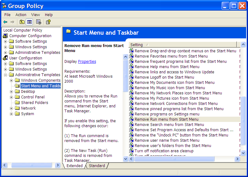 Group Policy Editor, Start Menu and Taskbar Options