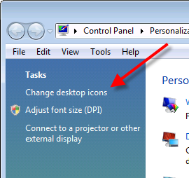 Vista Control Panel - Personalization - Change desktop icons