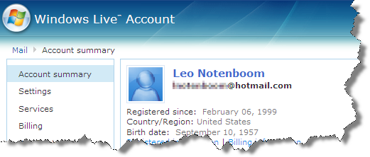 Windows Live Account setting page header
