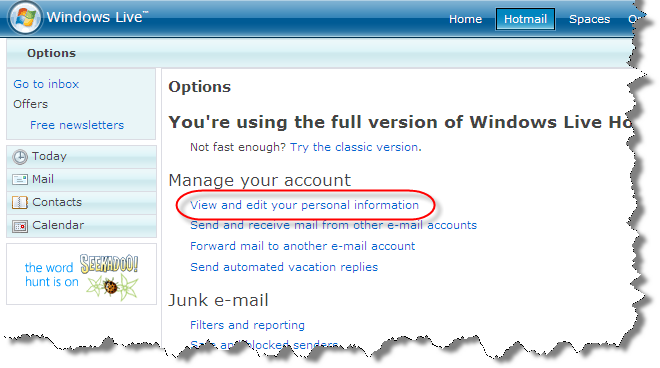 Windows Live Hotmail more options highlighting View and edit your personal information link